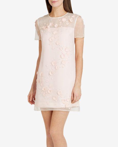 c76d1e9530e9c1 Embellished floral tunic dress - Nude Pink