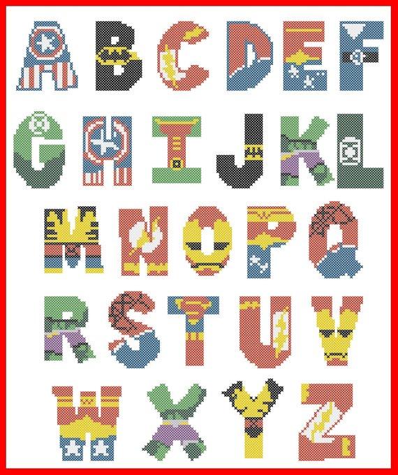 BOGO FREE! Superheroes Marvel and DC Alphabet Cross Stitch