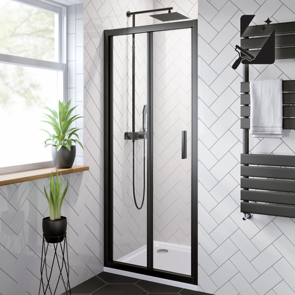 800mm 6mm Elements Easyclean Bifold Shower Door Soak Com Bifold Shower Door Shower Doors Black Shower Doors