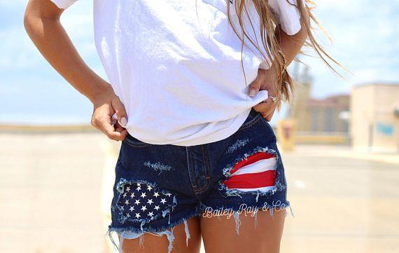 919f4c3bc809 Levis High waisted Denim Shorts - Merica   patriotic shorts   american flag  shorts   xxs xs s m l xl