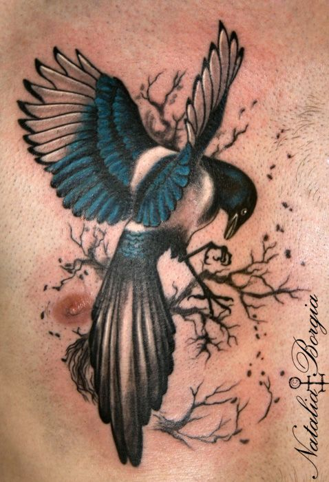 Magpie bird tattoo on chest. | Tattoos | Pinterest | Tattoo, Tattoos ...