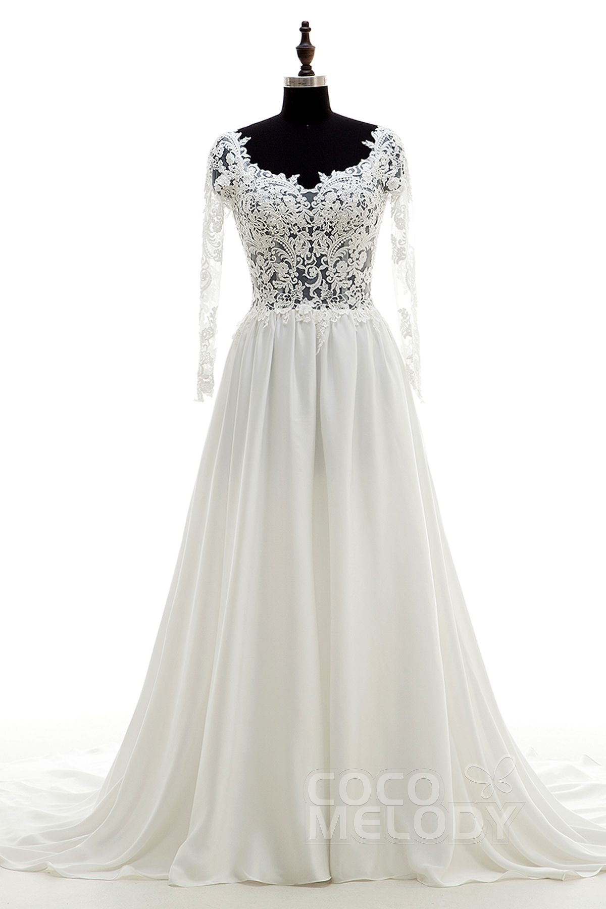 Divine aline scoop natural chapel train chiffon and lace ivory long
