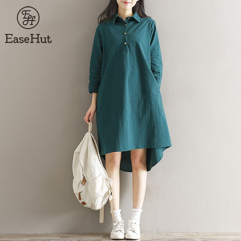 49e0c4aeb90 Find More Dresses Information about EaseHut Women 2018 Fashion Plus Size  Maxi Cotton Dress Stand Collar Button Long Sleeves Robe Casual Loose Dresses  ...