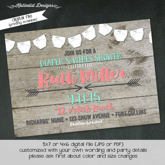 diaper shower invitation gender reveal gender neutral wood baby wipes sprinkle couples twins coed bash item shabby chic invitations