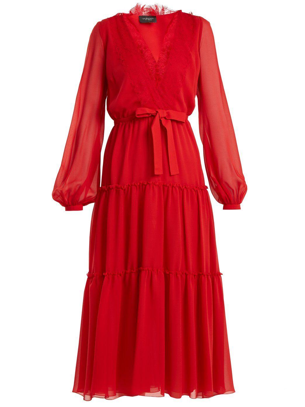 V-neck lace-trimmed silk-georgette dress  928c02b2f