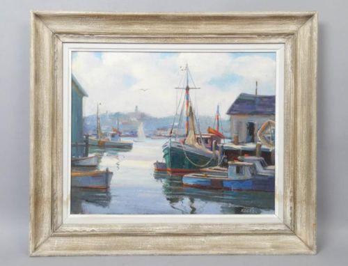 Vintage Watercolor Painting Sailboats Fishing Boats Ocean Harbor Coastal Scene Original Art 1971 Signed Framed Glass Home Styling Wall Decor