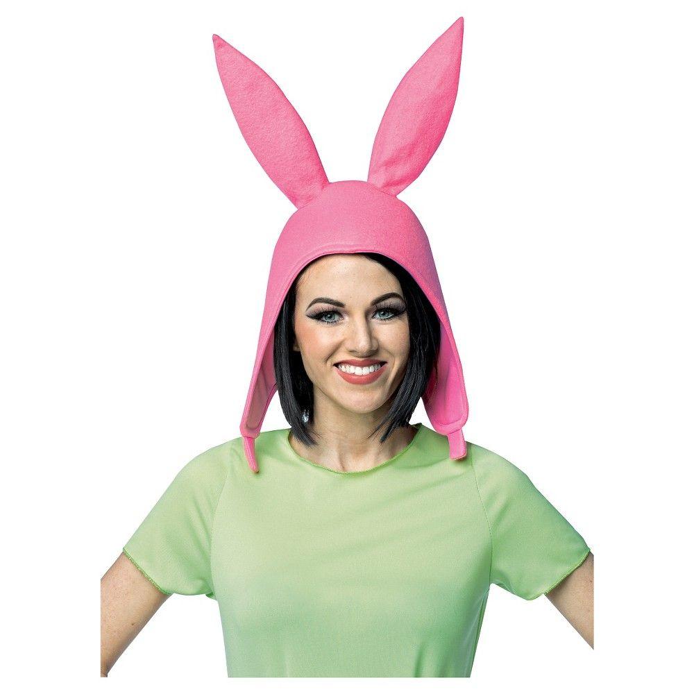 Women Girls Louise Pink Bunny Ears Hat Bob/'s Burgers Cosplay Costume Halloween