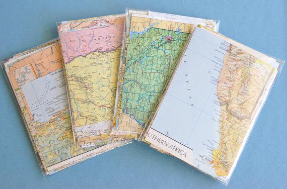 Map Paper Scrap Pack 50 Pieces Scrapbook Paper Diy Wedding
