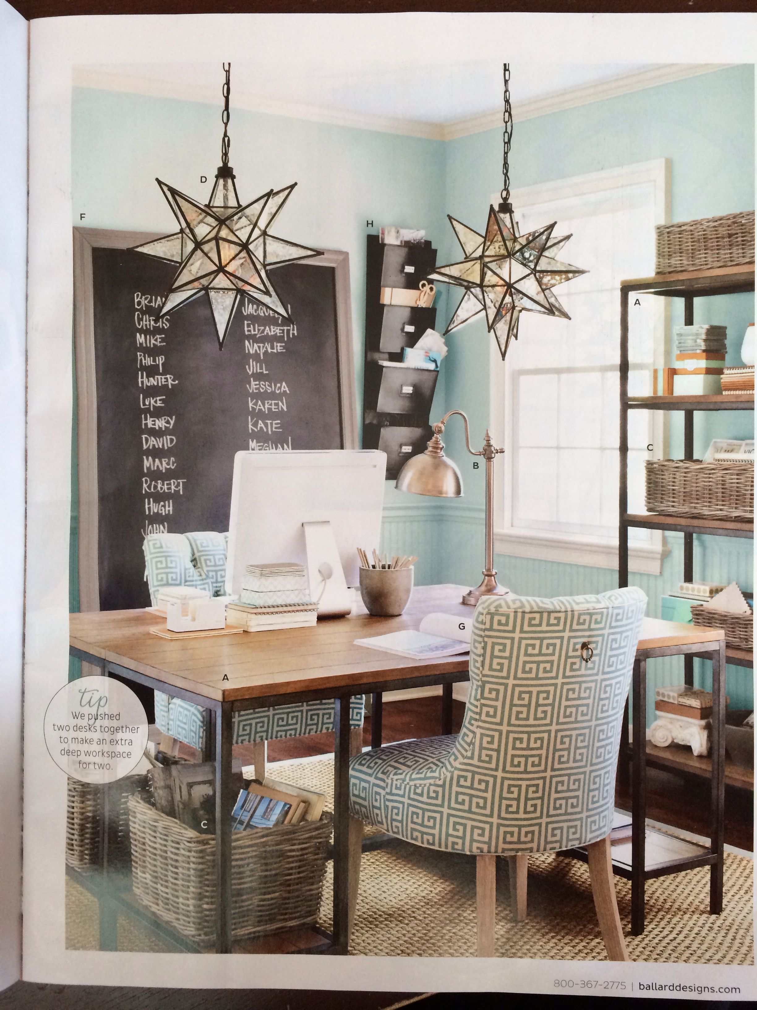 Home Office With Ballard Designs Furnishings Benjamin: Moravian Star Lighting For Entry Way
