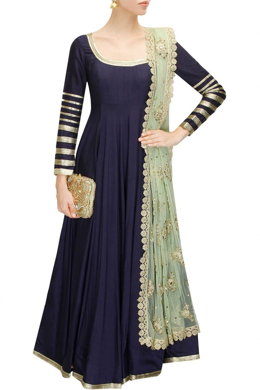 Navy blue embroidered anarkali suit available only at Perniaus Pop