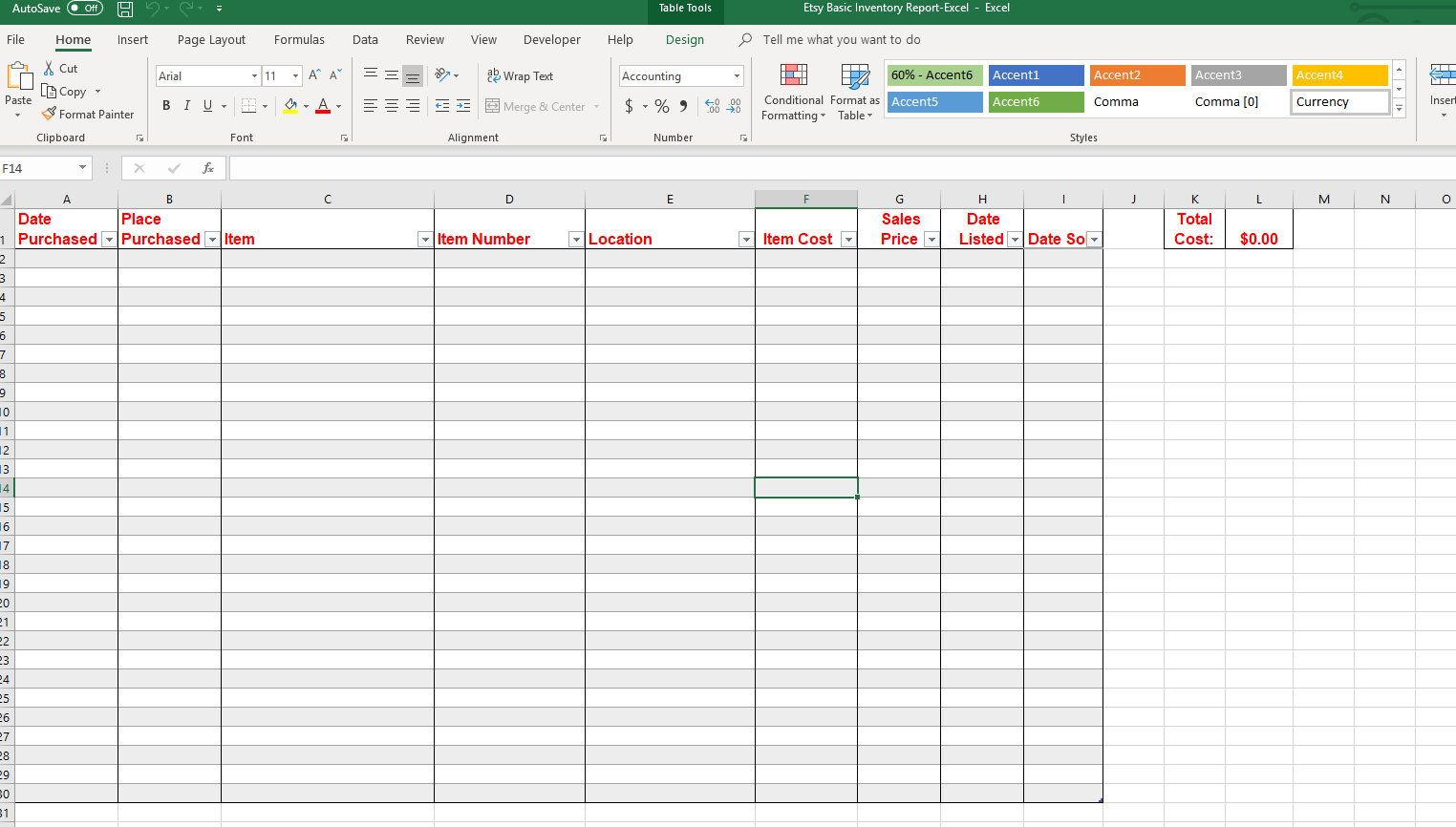 Basic Inventory Spreadsheet Template For Microsoft Excel