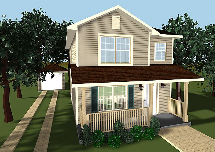 Small two story house plans with porches small house for Two story house drawing
