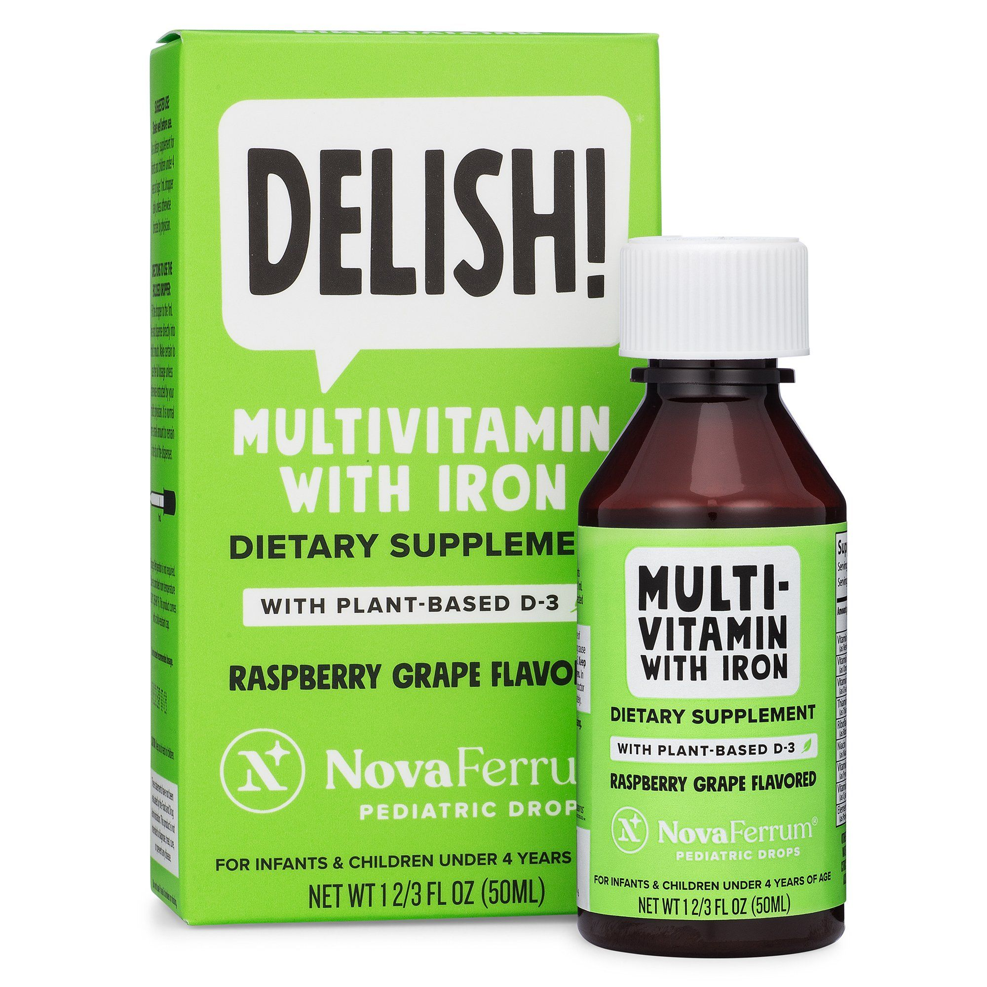 Novaferrum Vegan Multivitamin With Iron Pediatric Drops Organic Plant Based D3 In 2020 Multivitamins With Iron Plant Based Sugar Free Alcohol