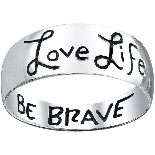 Footnotes Love Life Be Brave Sterling Silver Band Ring 17