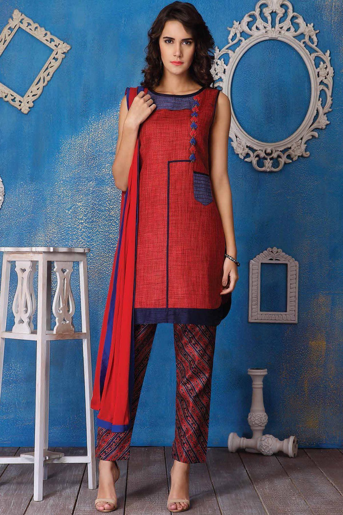 771f7812f2 Buy Red & Blue Thread Embroidered Jute Designer Salwar Online ...