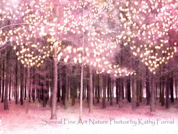 """Nature Photos - Trees Pink Forest - Surreal Nature Photos - Woodlands Trees - Fantasy Art - Fine Art Photography 6"""" x 9"""""""