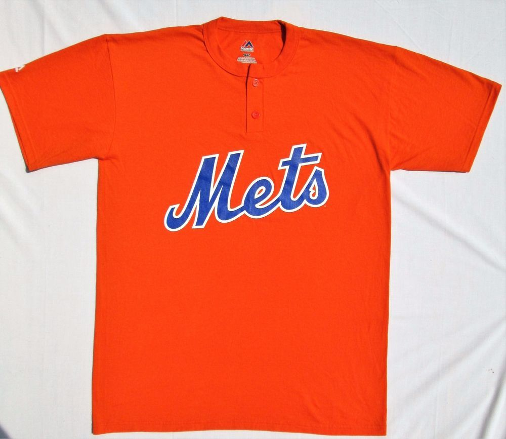 473639e6 NEW YORK METS Men's Size Large MLB Baseball Jersey Orange Logo Majestic T- SHIRT #Majestic #NewYorkMets