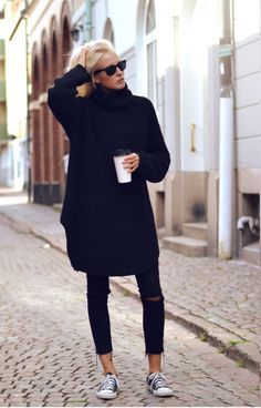 Oversized sweater, distressed jeans, and coffee...perfect weekend ...