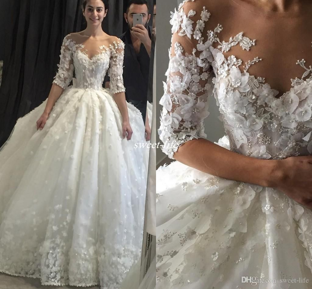Steven Khalil Ball Gown Wedding Dresses With Half Sleeve 3D Floral Appliques Vintage Lace Sheer Neck Puffy Bridal Dress 2017 Gowns