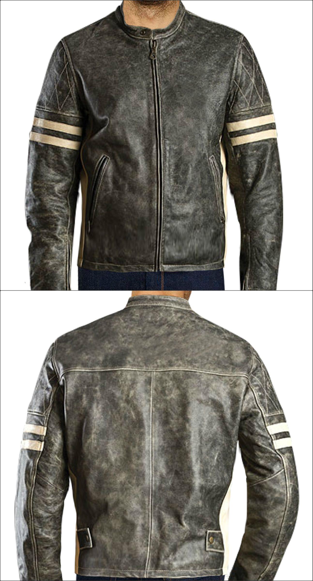 Distressed Black Antique Biker Leather Jacket now offer at