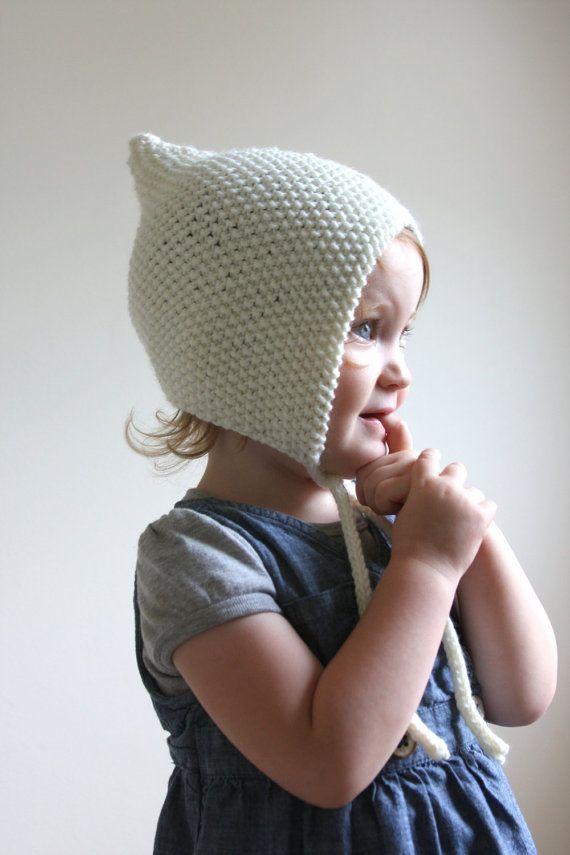 Knit Baby Pixie Bonnet Merino Wool Pixie Hat By Hilaryfrazier Brn