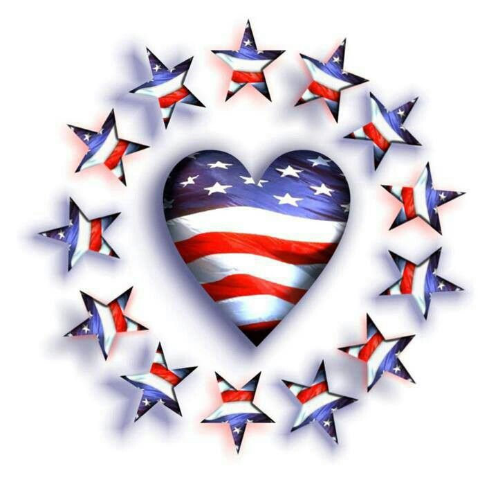Red White And Blue Heart And Stars America And The 4th Of July
