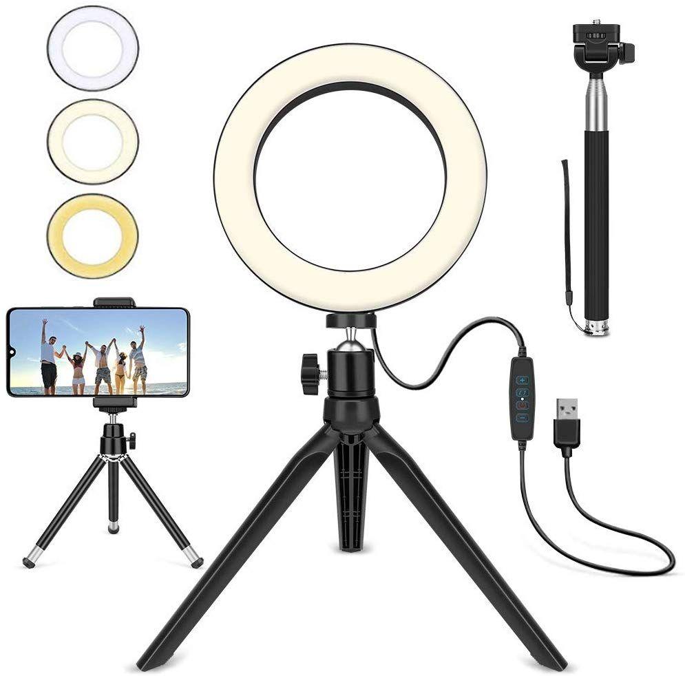 Selfie Licht Mit Handyhalterung In 2020 Handyhalter Stativ Ringlicht