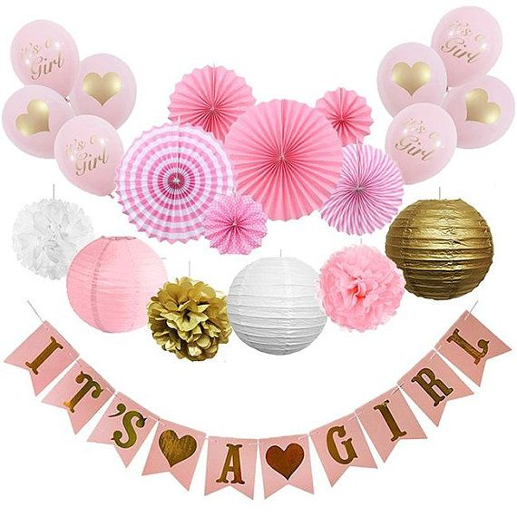 36 Pack Pink Gold Girl 1st Birthday Party Kit ITS A GIRL Banner Heart Latex Balloon Hanging Paper F