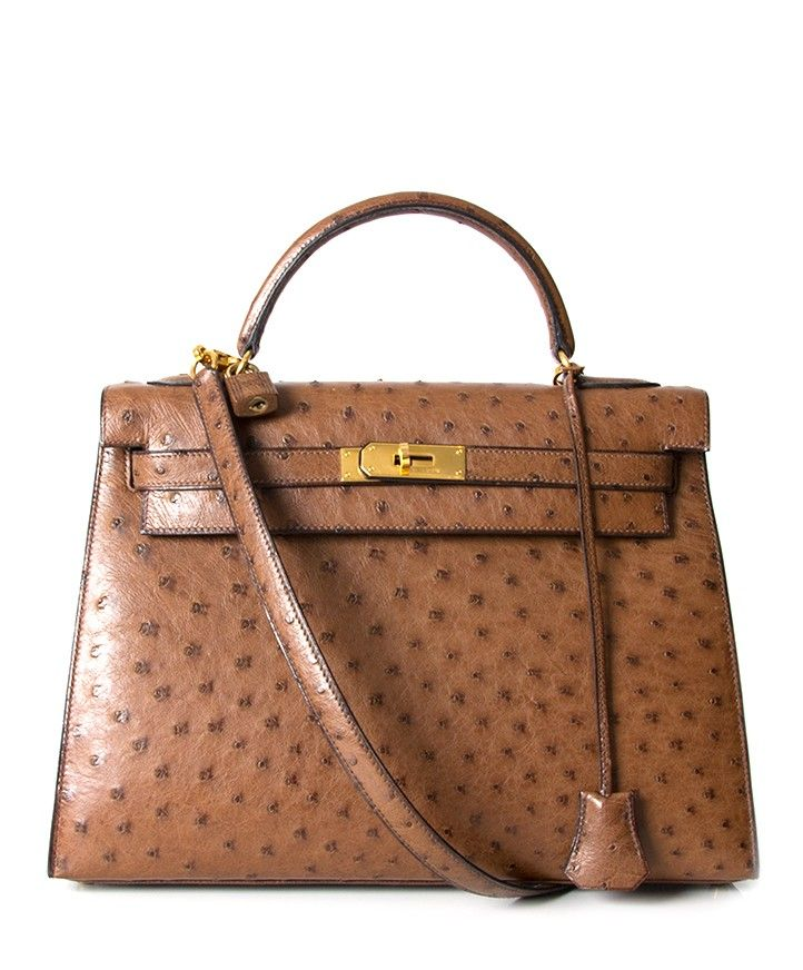 7fdfc625310 Hermès Kelly Bag Ostrich GHW With Strap 2de hands 32 net als nieuw 100%  echt labellov belgie