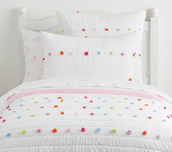 Bright Pom Pom Quilt In 2020 Quilt Bedding Girl Room Simple Bed