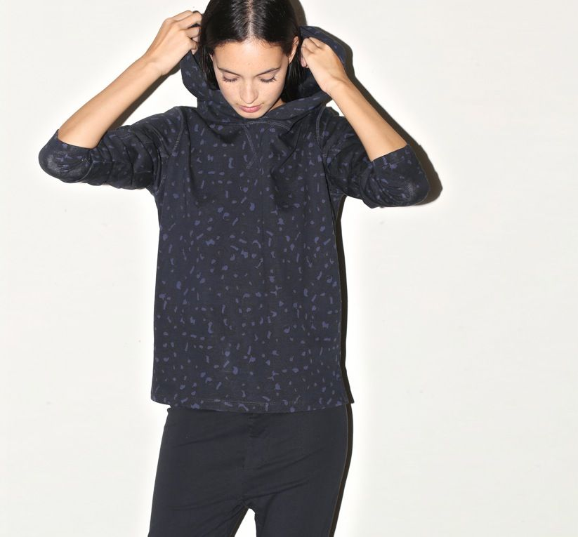 March 2014: A.P.C. Oversized Sweat w/ Hood in Dark Navy Leopard Print. bassike Slim Tapered Trackpant in Black.