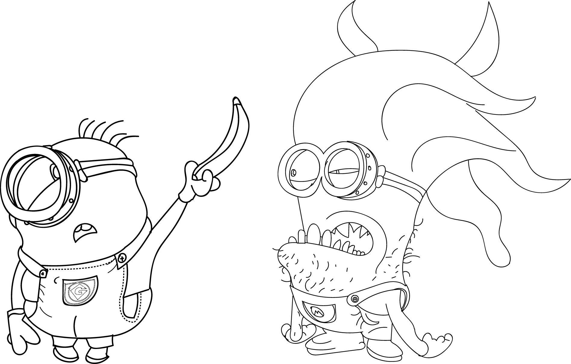 Minion-Creature-Banana-Catch-Coloring-Page - Wecoloringpage