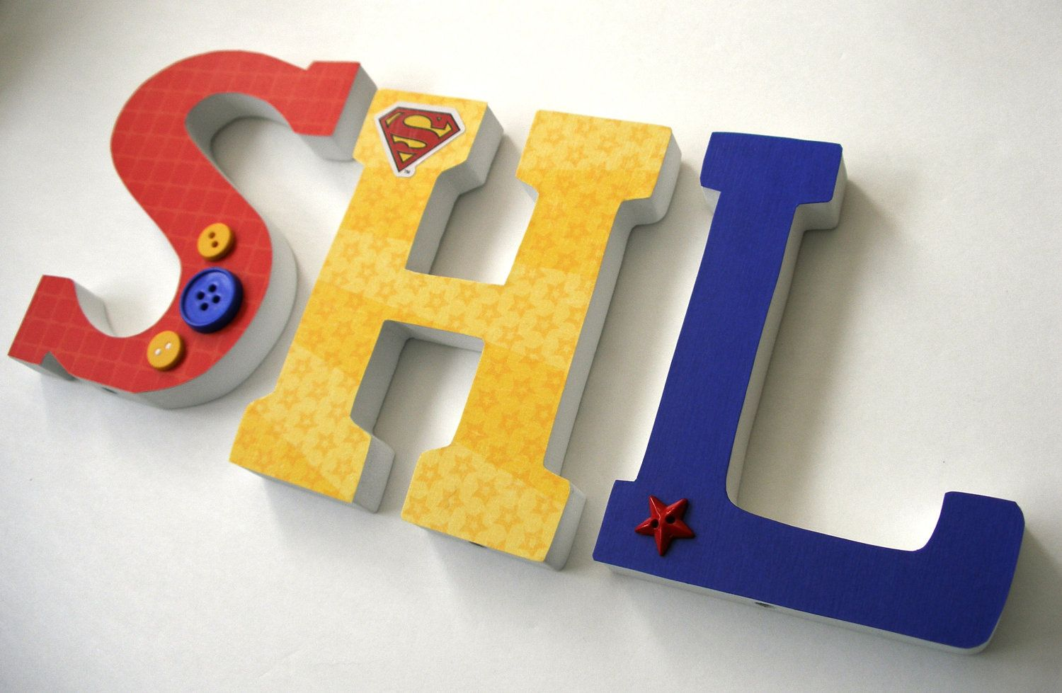 Custom Decorated Wooden Letters SUPERMAN Theme - Nursery Decor ...