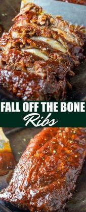 These Fall Off The Bone Ribs are a simple recipe that is baked low and slow in the oven creating a tender juicy and flavorful bbq dinner Barbecue Recipes