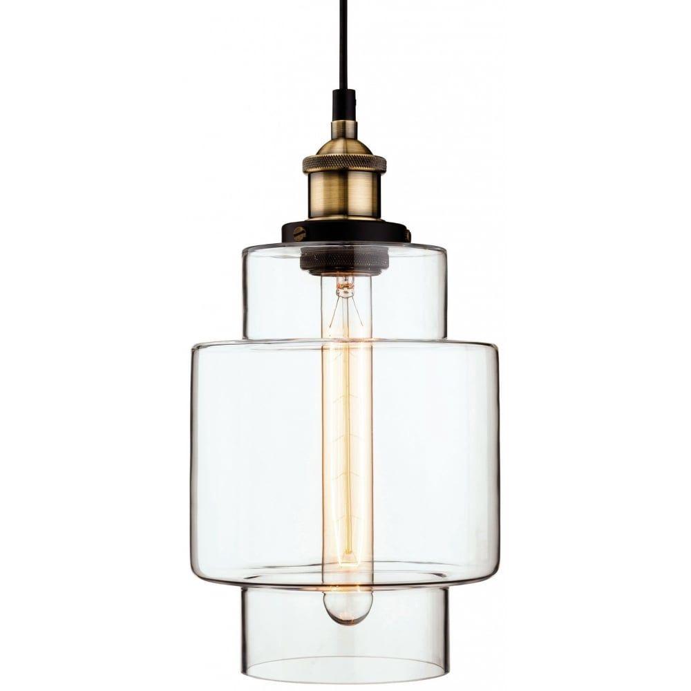Thlc retro vintage style edison tall glass ceiling pendant light