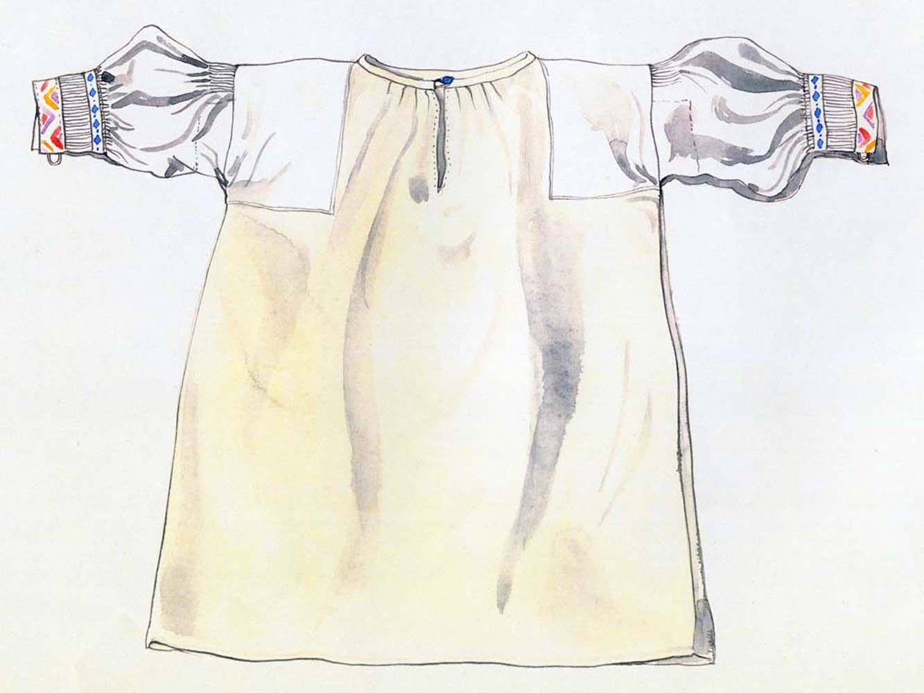 Rukávce, Bunetice, začiatok 20. storočia. Rukávce (oplečko) majú rovný strih s kolmo prišitými rukávmi. Predný a zadný diel je z domáceho konopného plátna. Na pleciach je podloženie z kupovaného bavlneného plátna. Rukávce nemajú golier. Okraj krčného výstrihu je všitý do úzkeho obalka. Široké a rovné rukávy zo šifónu sú v pleciach a manžetách drobno nariasené. Manžety zdobí farebná hladkovaná výšivka.