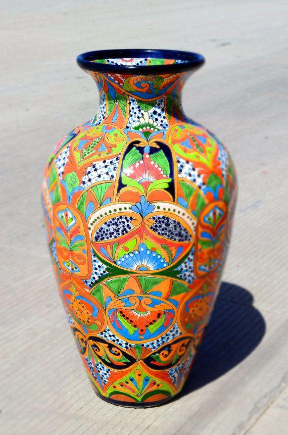Talavera Big Flower Vase Big Talavera Pot By Casamexico On Etsy