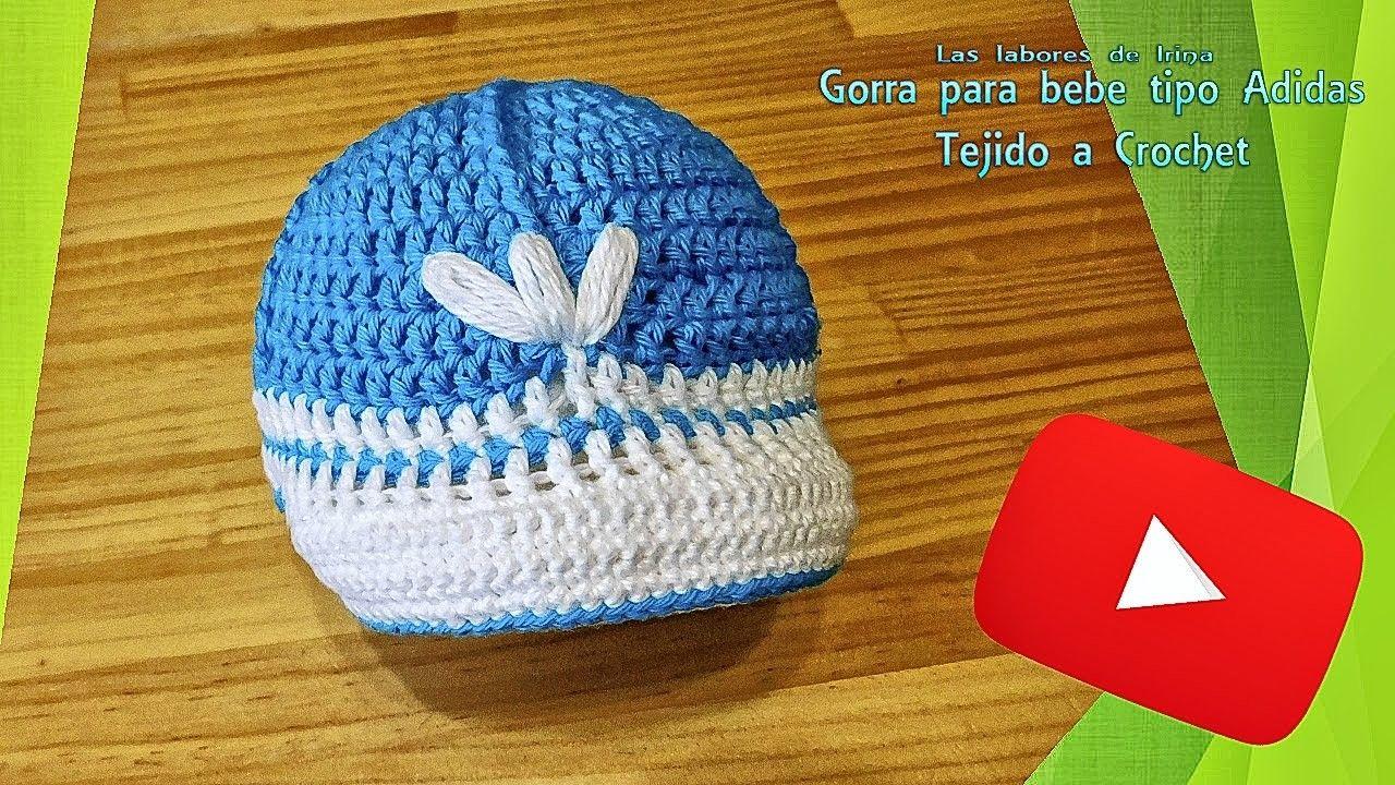 0854511978ea9 Tutorial  Gorra para bebe tipo adidas de crochet in 2018