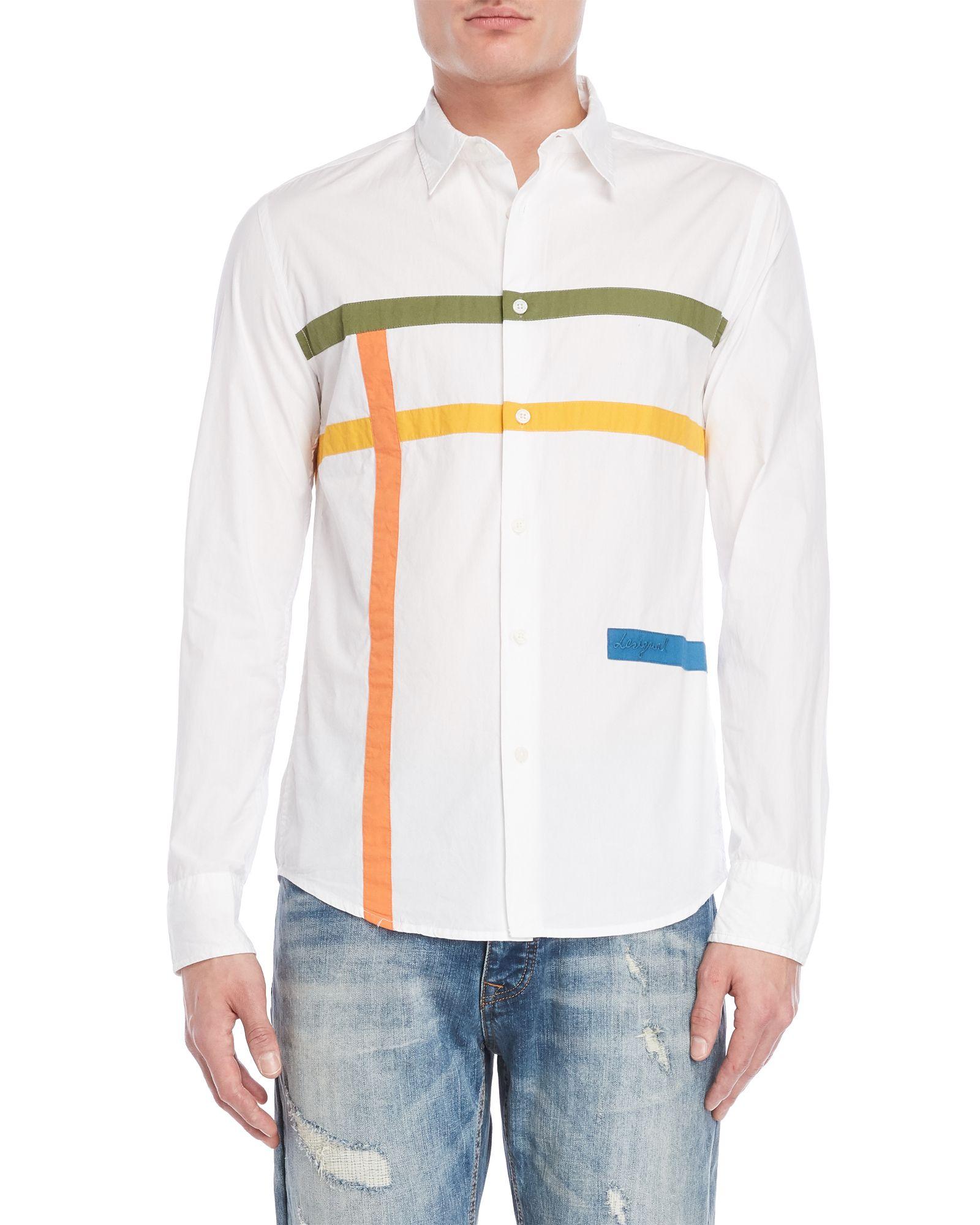 0ffc561c95e Desigual White Stripe Regular Fit Sport Shirt