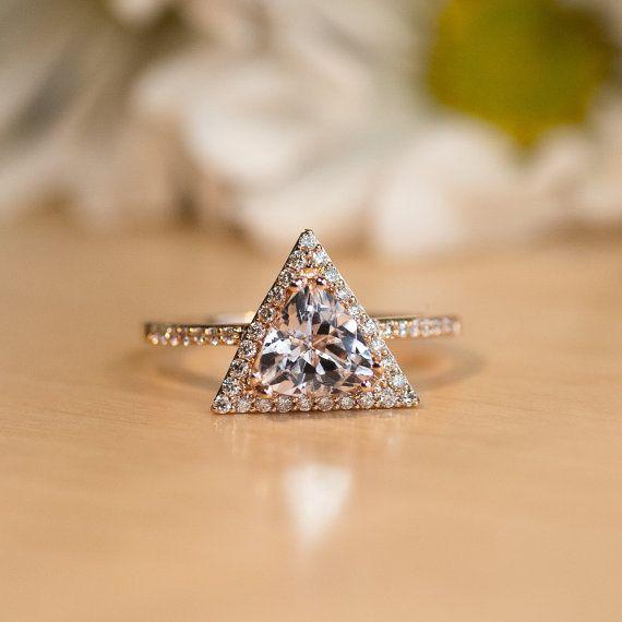Rose Gold Morganite Engagement Ring Diamond Halo Triangle Pink Gemstone Trillion Cut