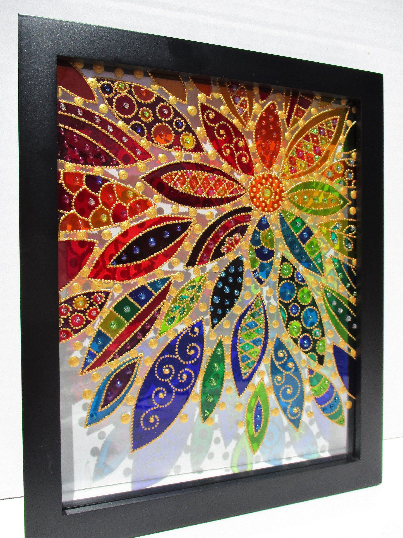 Abstract flower art 11x9 glass painting bohemian decor sun