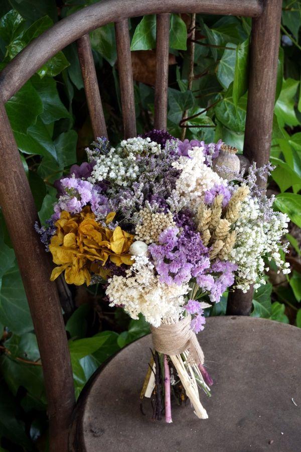 Ramo De Novia Con Flores Preservadas Hortensias Lavanda Y Secas