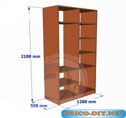 Bricolaje diy planos gratis como hacer muebles de melamina for Plano ropero melamina
