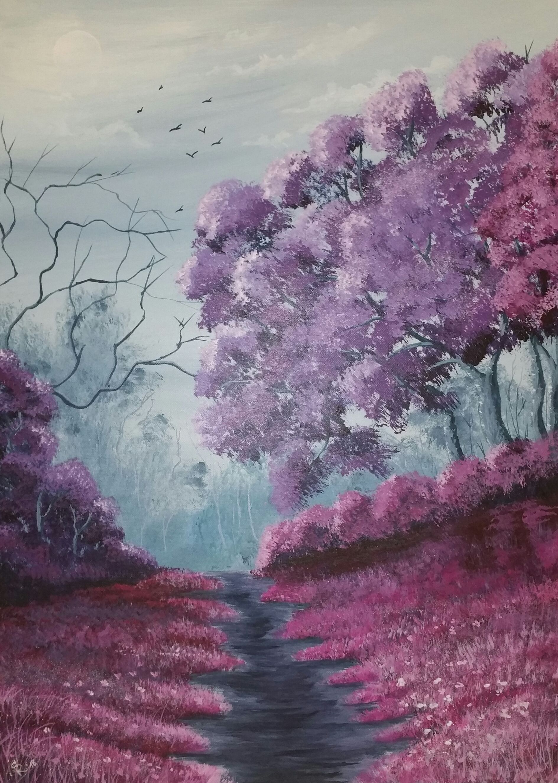 original acrylmalerei auf leinwand bäume landschaft