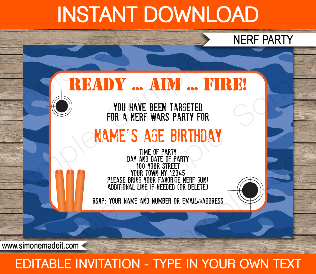 Nerf Party Invitations Template Blue Camo Nerf Birthday Party
