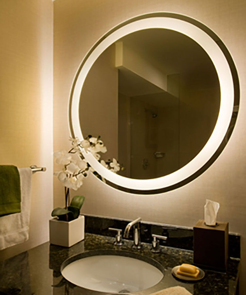 The Eternity Lighted Mirror Is Oval And Round Shaped With A Border