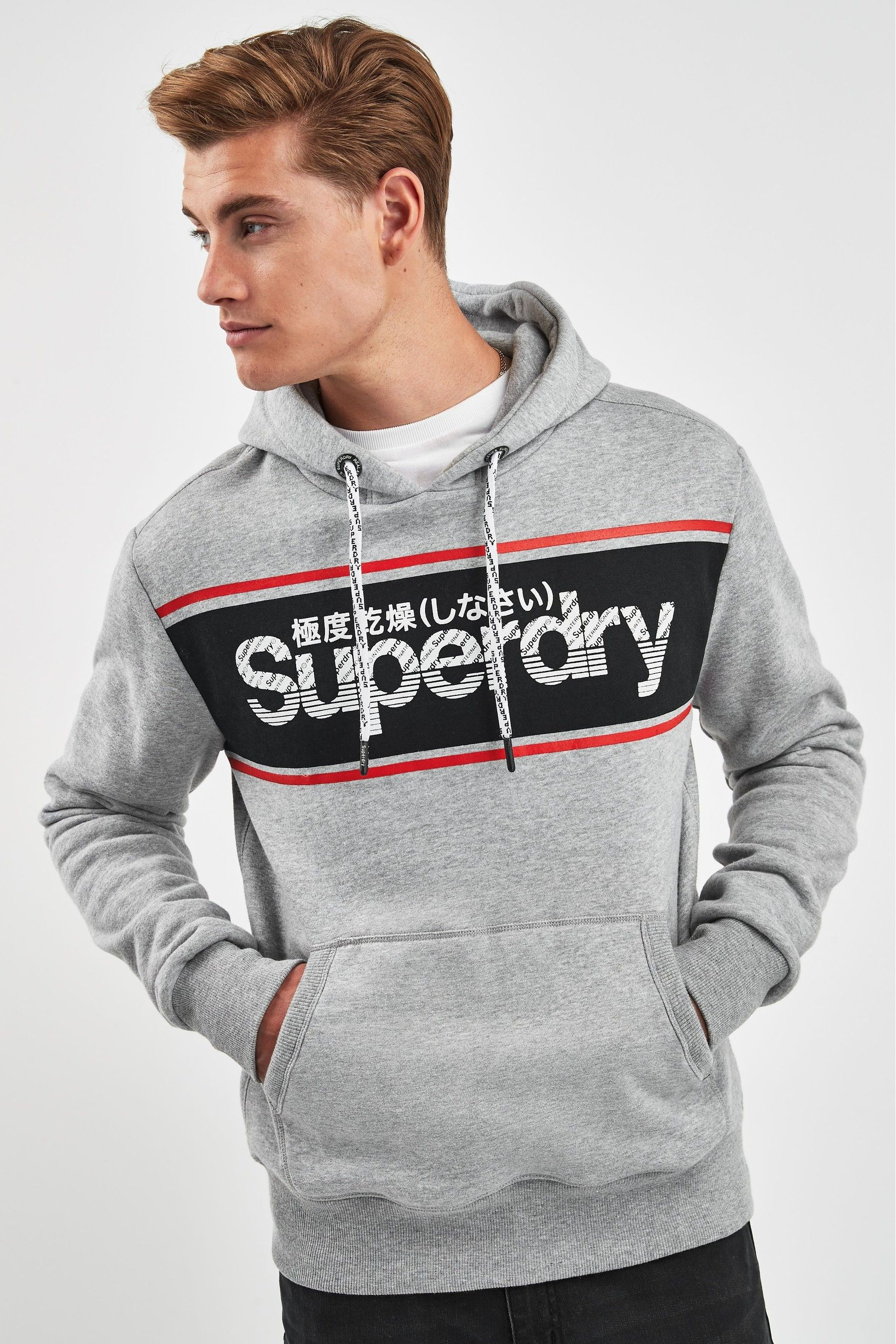 New Mens Superdry Super 7 Tri Logo Black Track Hoodie Sweatshirt XXL | eBay