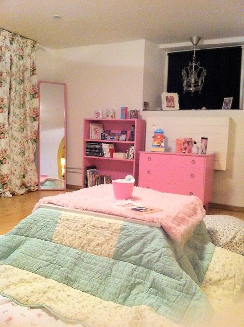 cute kawaii room pink kotatsu wonderhatter | Room decor/ storage ...