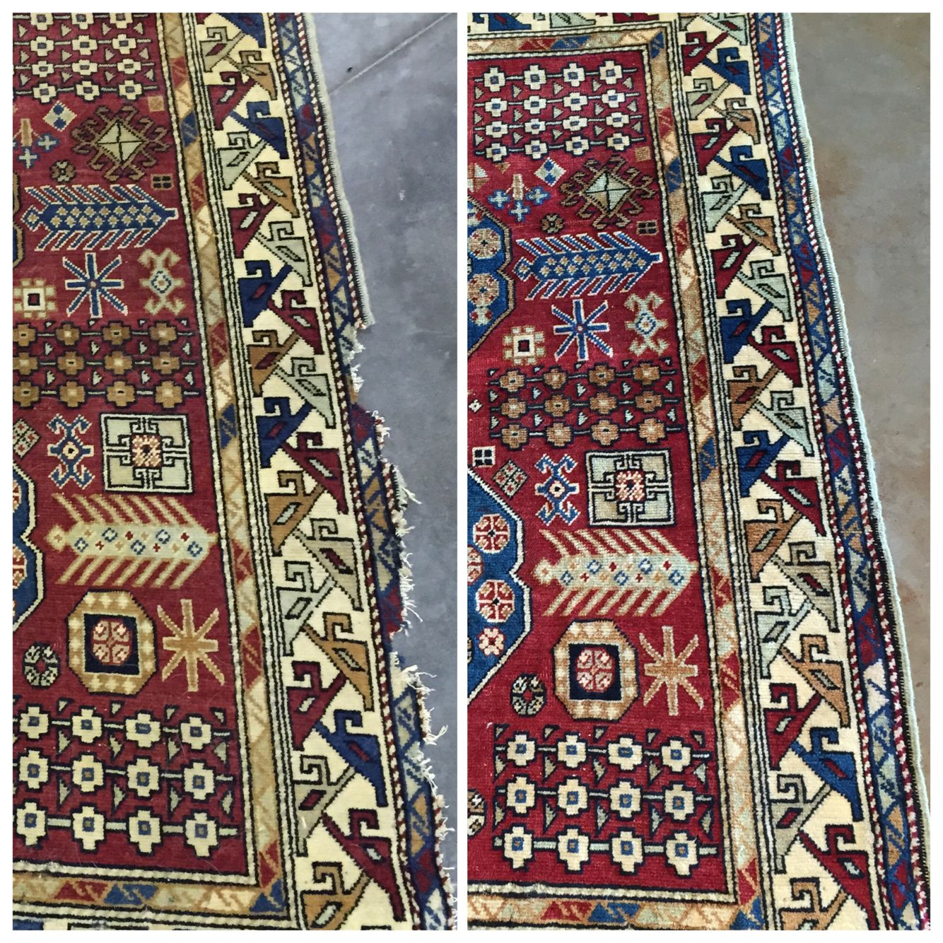 This beautiful Caucasian rug needed cleaning and repair. We are especially happy with how this one turned out! Big difference and so much brighter than before!! To clean and repair your rugs contact us through our website at www.aziarugs.com #arearugcleaning #aziaruggallery #orientalrugcleaning #antiques #restorations #rugrepair #rugs #runners #Ohio #cbus #ColumbusOhio