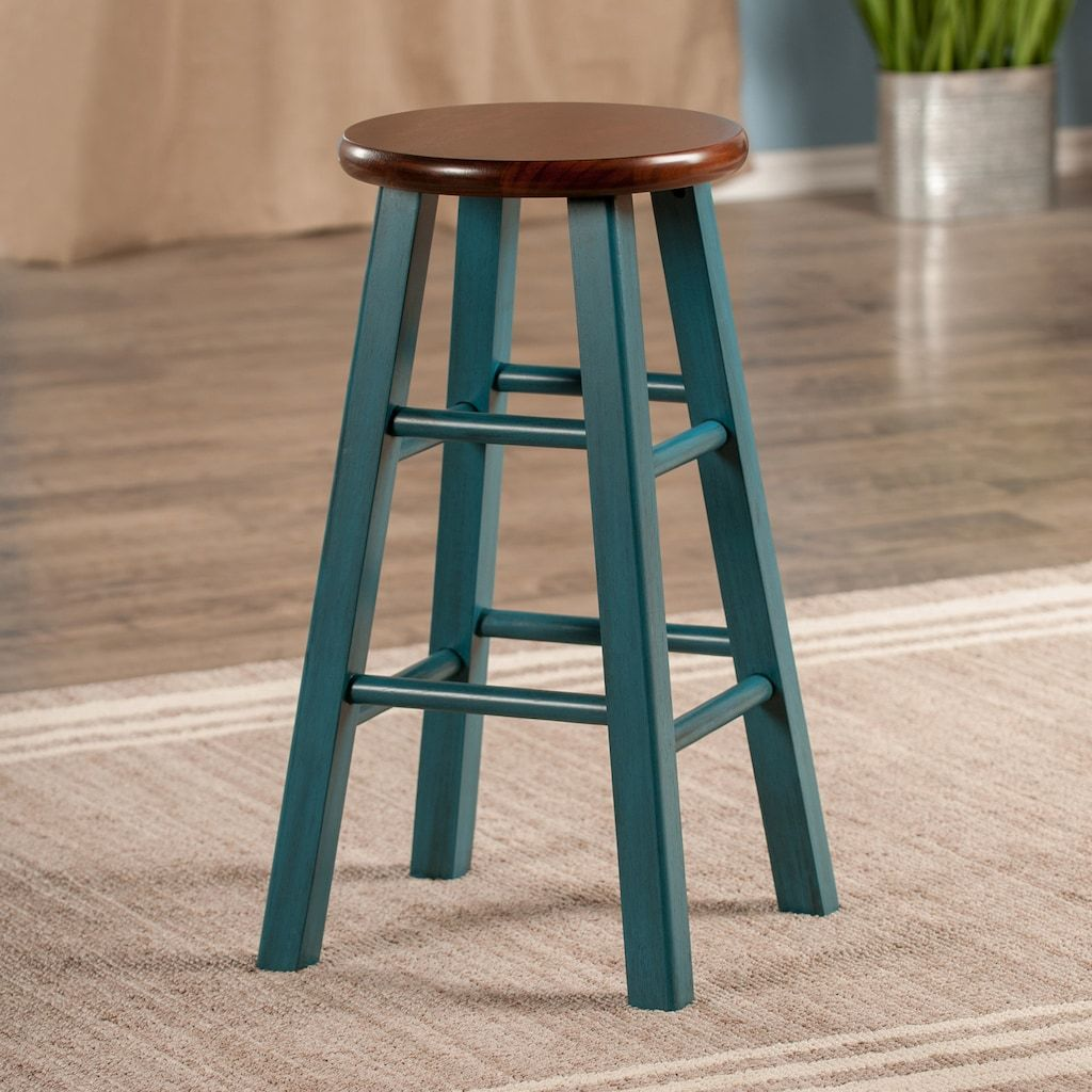 Winsome Ivy Counter Stool Med Blue In 2020 Rustic Bar Stools